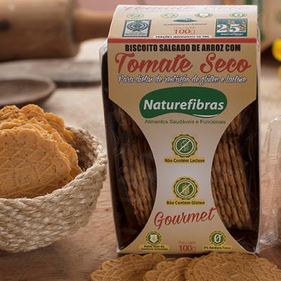 Biscoito de arroz com tomate seco sem glúten e sem lactose 100g Naturefibras pacote PCT