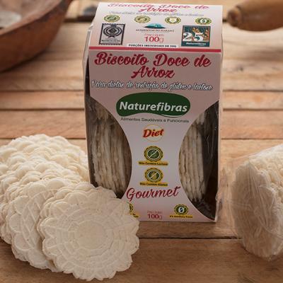 Biscoito de arroz diet sem glúten e sem lactose 100g Naturefibras pacote PCT