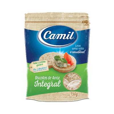 Biscoito de arroz integral 150g Camil pacote PCT