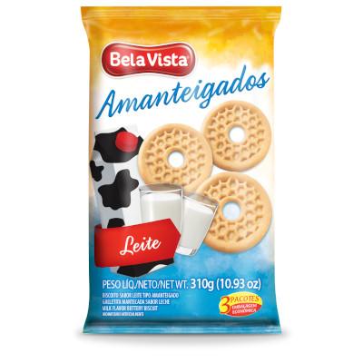 Biscoito doce amanteigado ao leite 310g Bela Vista pacote UN