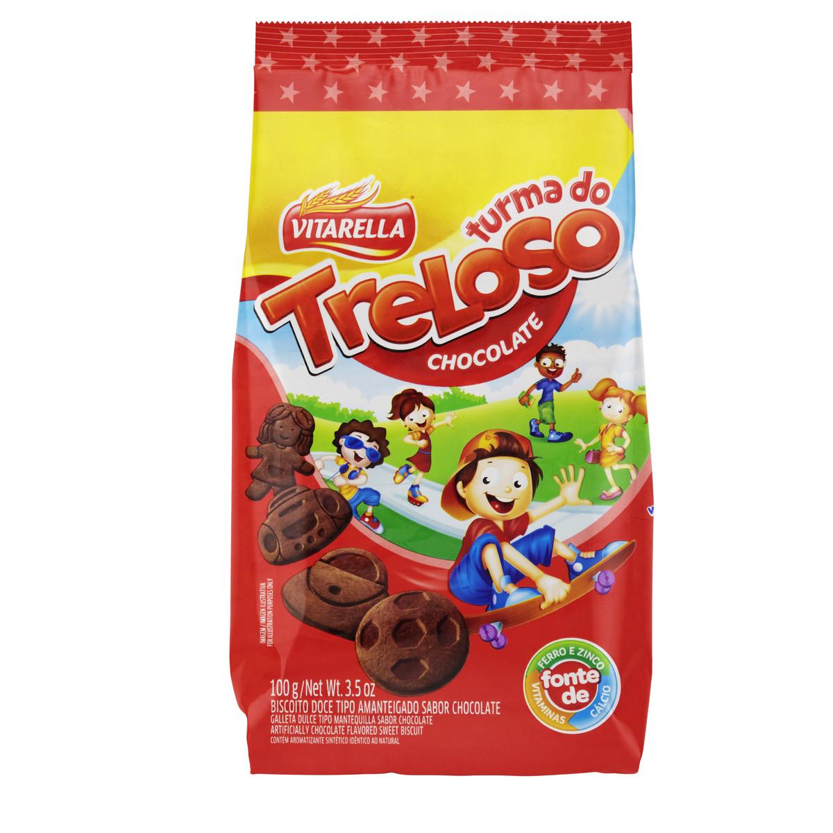 Biscoito Doce Amanteigado Chocolate 100g Vitarella/Treloso pacote PCT