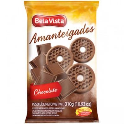Biscoito doce amanteigado chocolate 310g Bela Vista pacote PCT