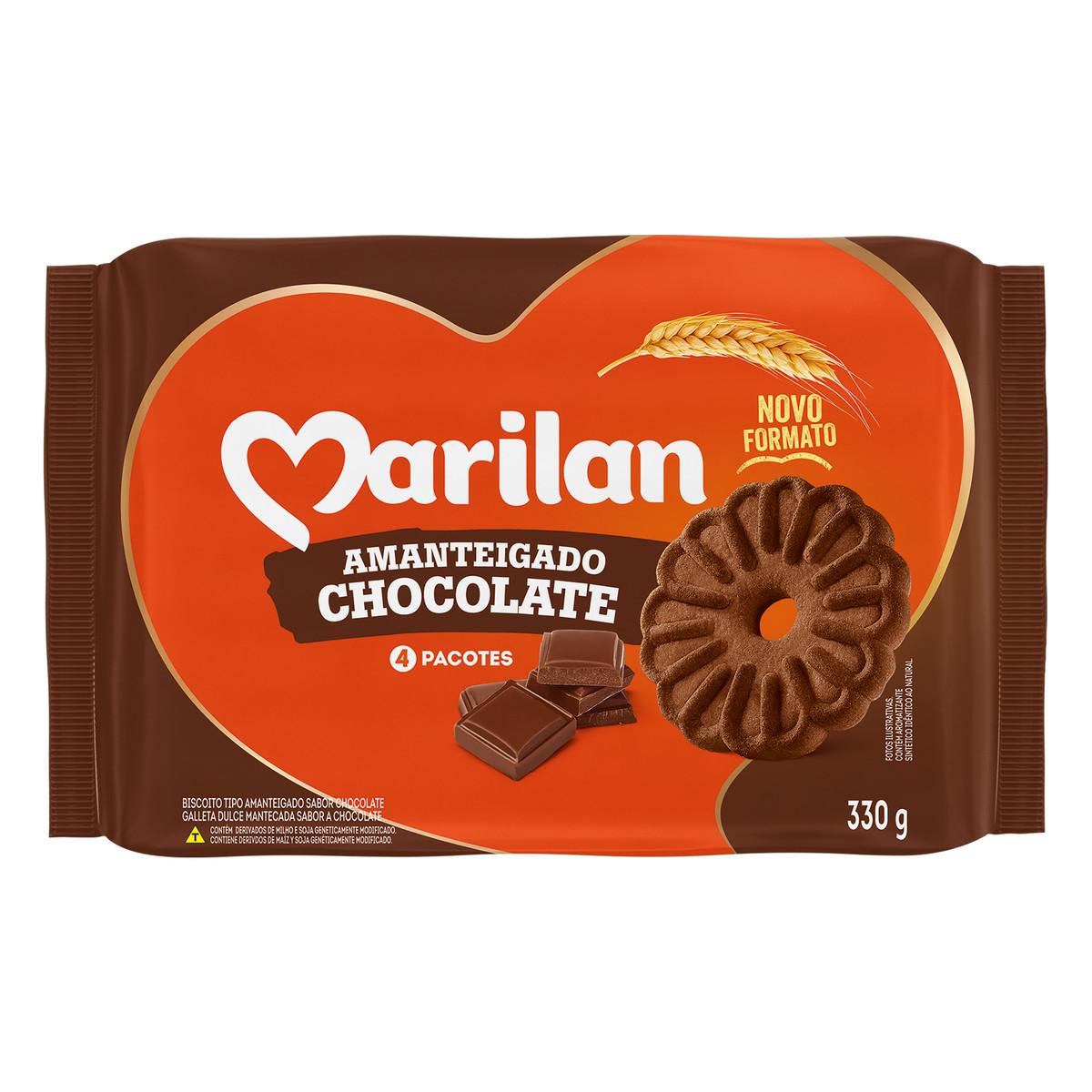 Biscoito doce amanteigado chocolate 330g Marilan pacote PCT
