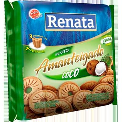 Biscoito doce amanteigado coco 360g Renata pacote PCT