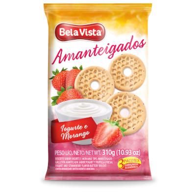 Biscoito doce amanteigado iogurte e morango 310g Bela Vista pacote PCT