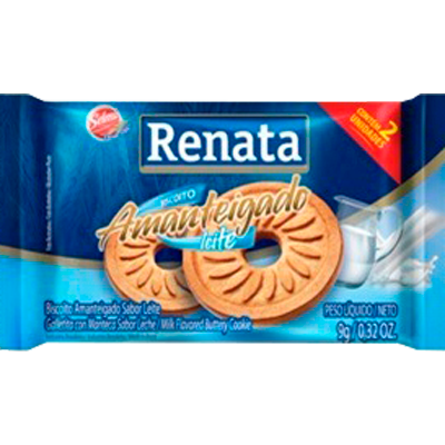 Biscoito Doce amanteigado leite unidades de 5 a 9g Renata em sachês UN