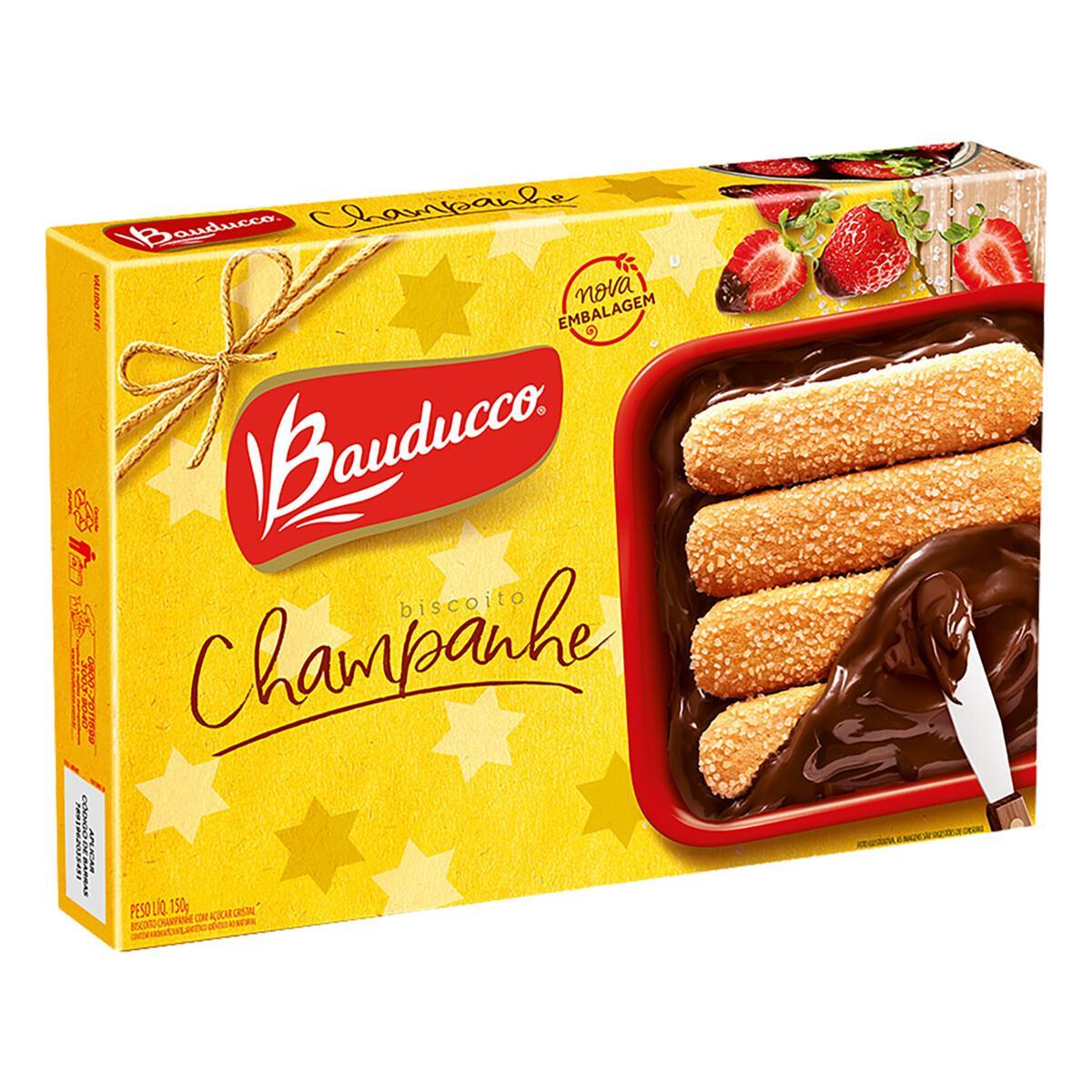 Biscoito Doce Champanhe Açúcar Cristal 150g Bauducco caixa UN