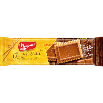 Biscoito doce Chocolate ao Leite 36g Bauducco ChocoBiscuit pacote UN
