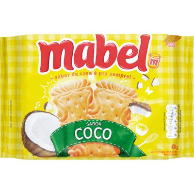 Biscoito doce coco 400g Mabel pacote PCT