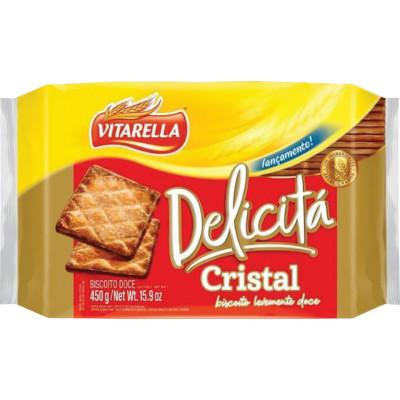 Biscoito doce Delicitá cristal 450g Vitarella pacote PCT