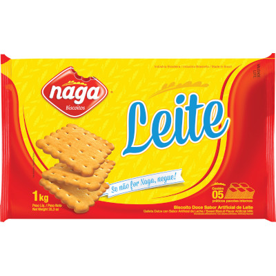 Biscoito doce Leite 1kg Naga pacote PCT