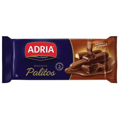 Biscoito doce palito coberto com chocolate 70g Adria pacote PCT