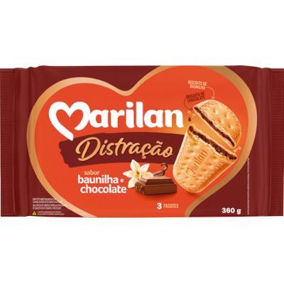 Biscoito doce sabor baunilha com recheio de chocolate 360g Marilan/Distração pacote PCT