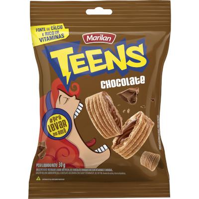 Biscoito doce sabor chocolate 08 unidades de 30g Marilan/Teens caixa CX
