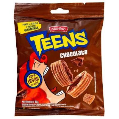 Biscoito doce sabor chocolate 80g Marilan/Teens pacote PCT