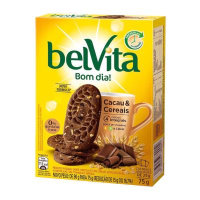 Biscoito integral cacau e cereais 75g Belvita caixa CX