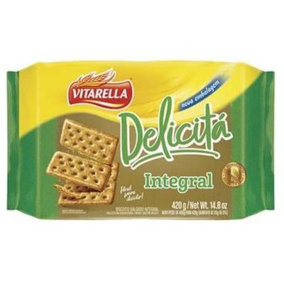 Biscoito integral cracker delicitá 420g Vitarella pacote PCT