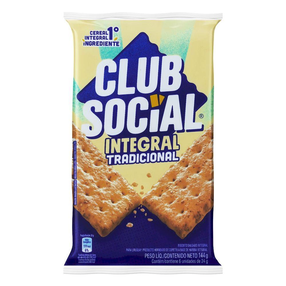Biscoito integral  144g Club Social pacote PCT