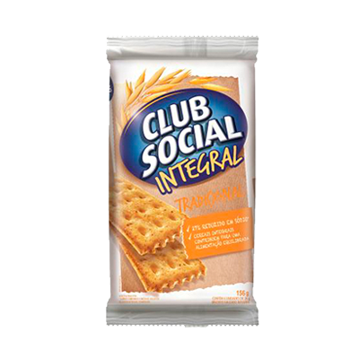Biscoito integral  156g Club Social pacote PCT