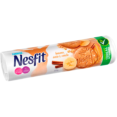 Biscoito integral sabor banana, aveia e canela 200g Nesfit pacote PCT