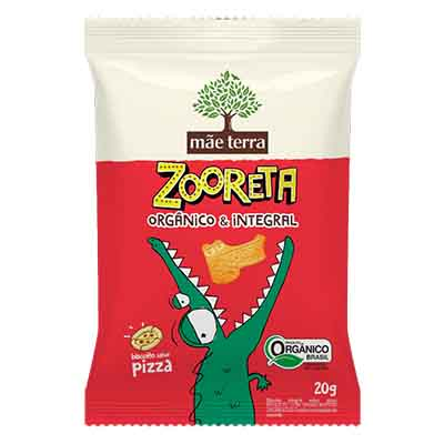 Biscoito integral sabor pizza 20g Zooreta/Mãe Terra pacote PCT
