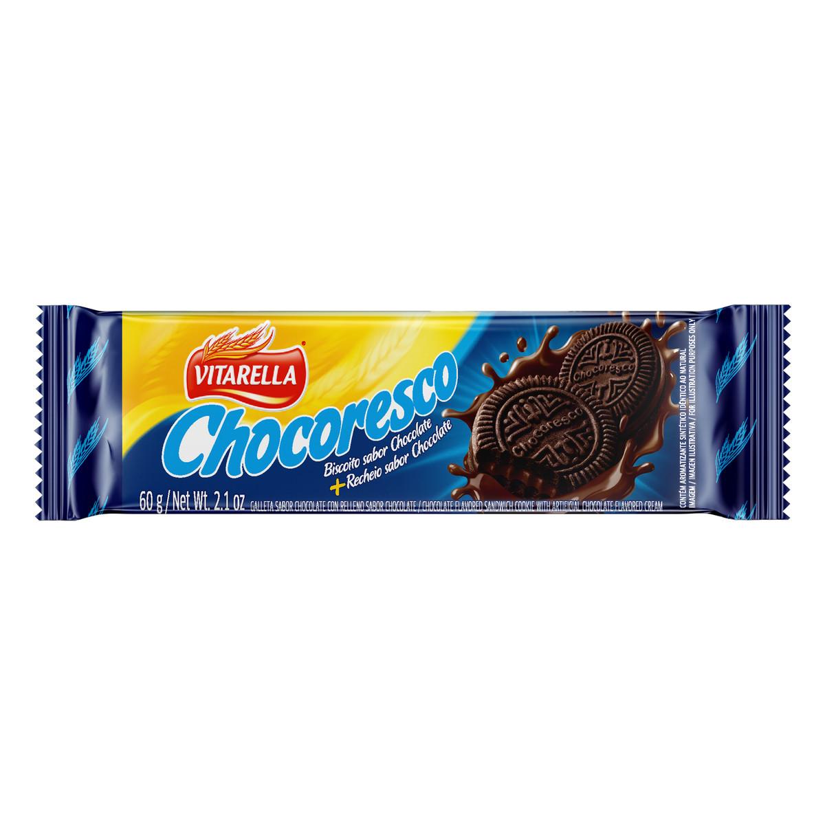 Biscoito recheado Chocoresco Chocolate 60g Vitarella pacote PCT