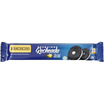 Biscoito Recheado Sabor Baunilha 90g Rancheiro pacote PCT