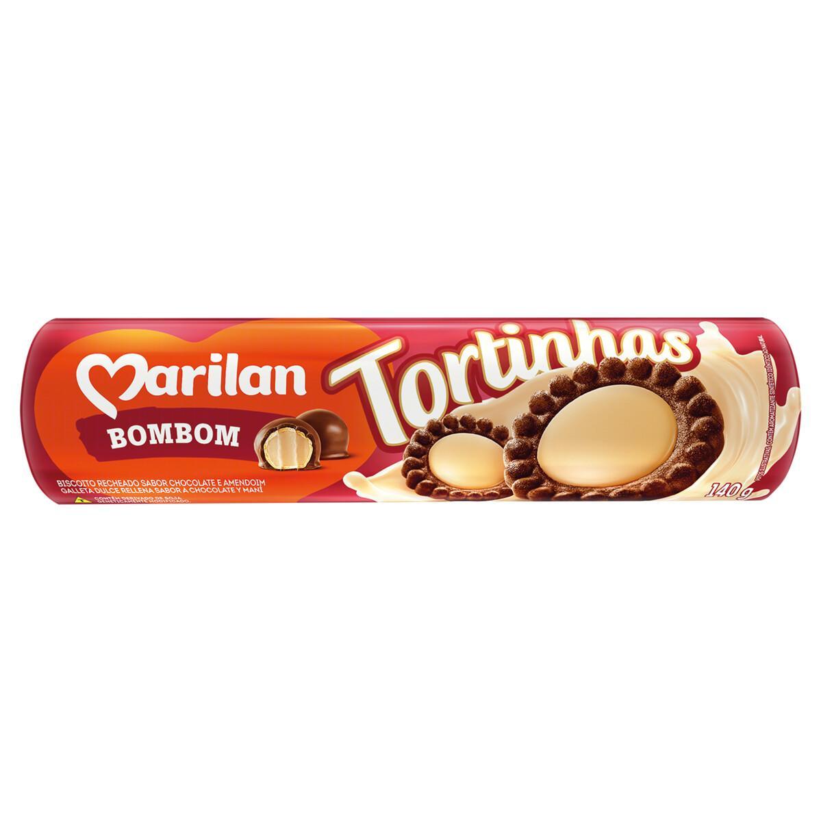 Biscoito Recheado sabor Bombom 140g Marilan/Tortinhas pacote PCT