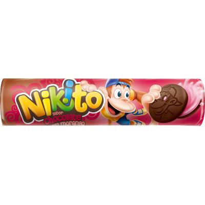Biscoito Recheado  sabor Chocolate com Morango  135g  Zabet/Nikito pacote PCT