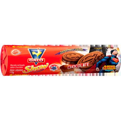 Biscoito recheado sabor chocolate 112g Galo pacote PCT