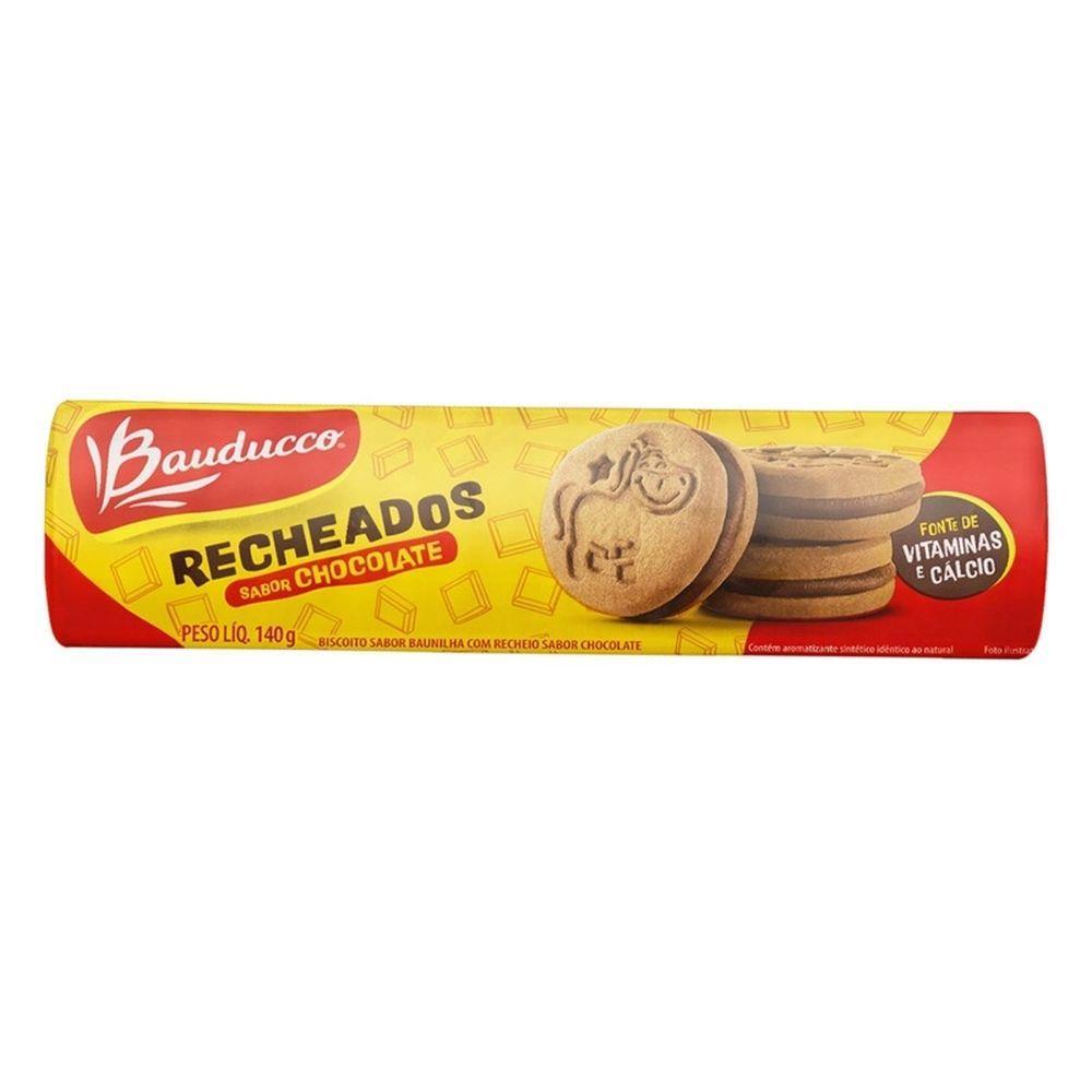 Biscoito Recheado sabor Chocolate 140g Bauducco/Recheados pacote PCT