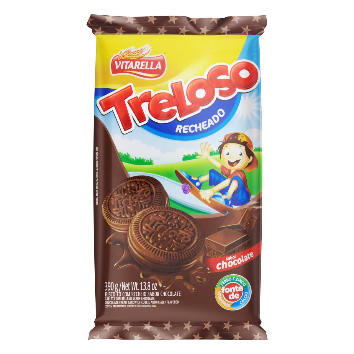 Biscoito recheado sabor Chocolate  390g Treloso/Vitarella pacote PCT