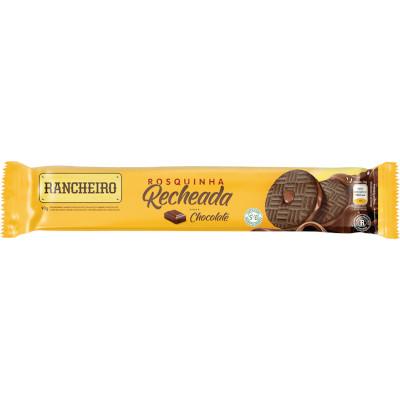 Biscoito Recheado Sabor Chocolate 90g Rancheiro pacote PCT