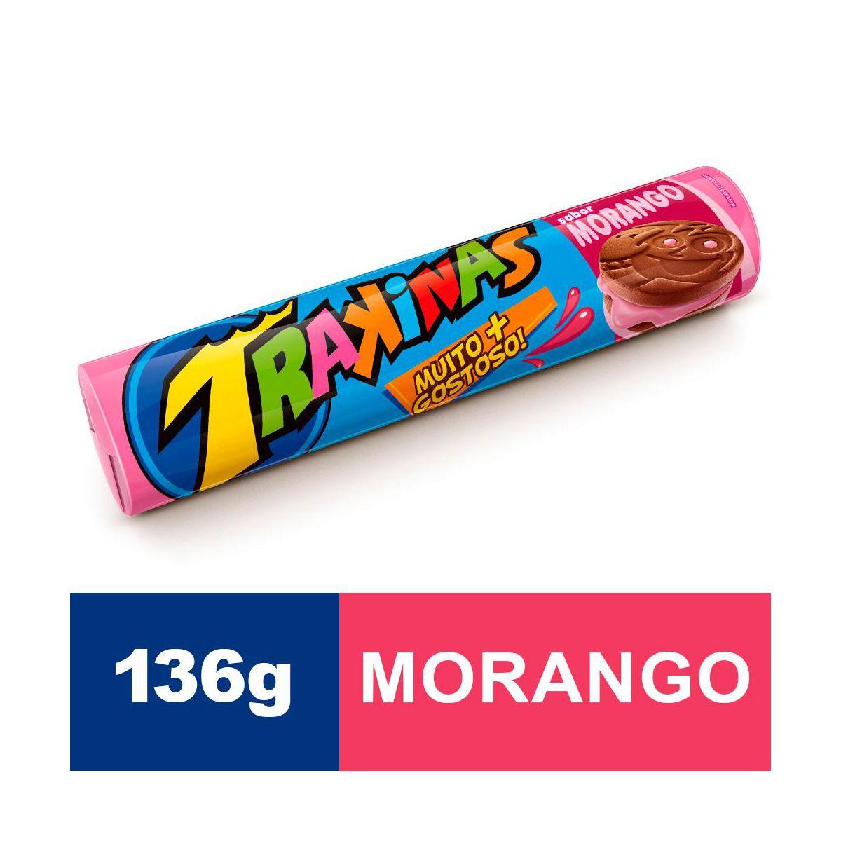 Biscoito recheado sabor morango mais 136g Trakinas pacote PCT