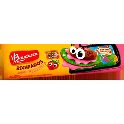 Biscoito recheado sabor morango 104g Bauducco pacote PCT