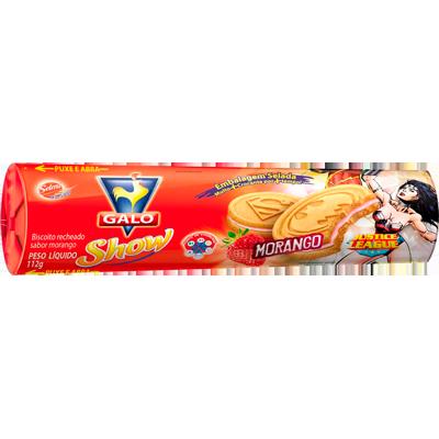 Biscoito recheado sabor morango 112g Galo pacote PCT