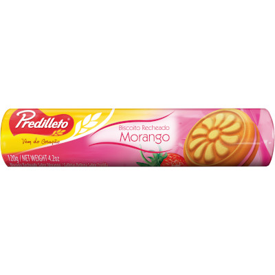 Biscoito recheado sabor morango 120g Predilleto pacote PCT