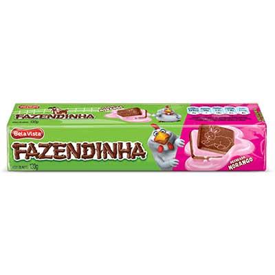 Biscoito recheado sabor morango 130g Fazendinha pacote PCT