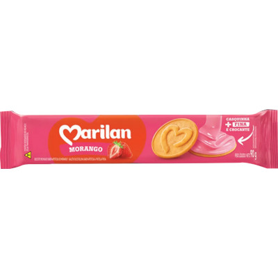 Biscoito Recheado sabor Morango 90g Marilan pacote PCT