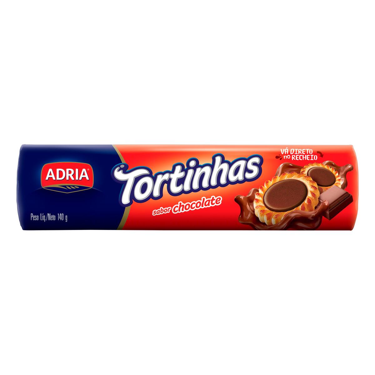 Biscoito recheado tortinha de chocolate 140g Adria pacote PCT