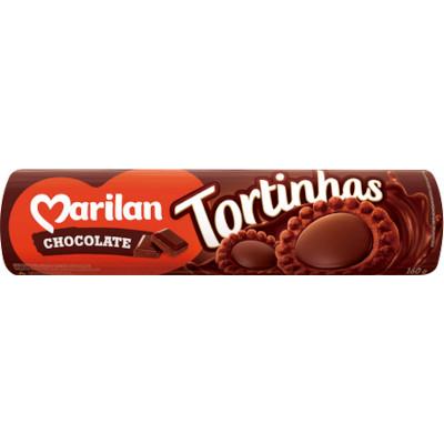 Biscoito recheado tortinha de chocolate 160g Marilan/Tortinhas pacote PCT