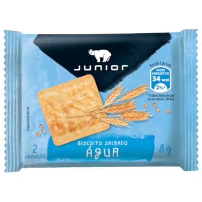 Biscoito salgado água e sal unidades de 5 a 9g Junior em sachês UN