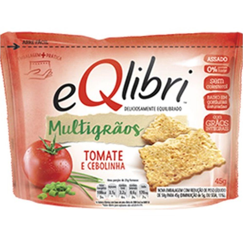 Biscoito salgado cracker original multigrãos tomate e cebolinha 45g Eqlibri pacote PCT
