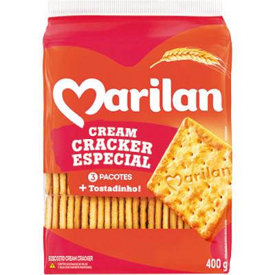 Biscoito Salgado Cream Cracker Nordeste 400g Marilan pacote PCT