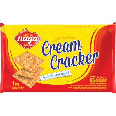 Biscoito salgado Cream Cracker 1kg Naga pacote PCT
