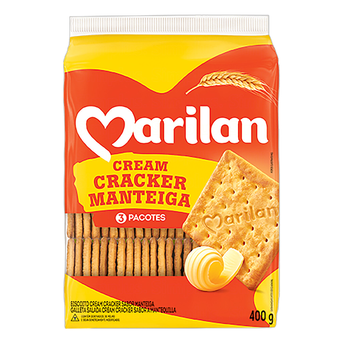 Biscoito salgado cream cracker 400g Marilan pacote PCT