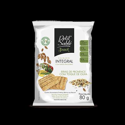 Biscoito Salgado Integral Vegano sabor Ervas Provence e Oliva 80g Petit Sablé pacote PCT