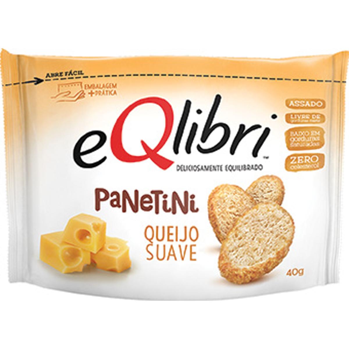 Biscoito salgado panetini sabor queijo suave 40g Eqlibri pacote PCT