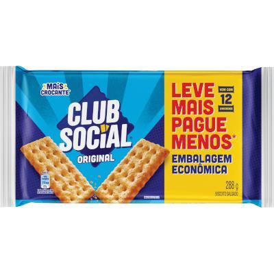 Biscoito salgado sabor original 288g Club Social pacote PCT