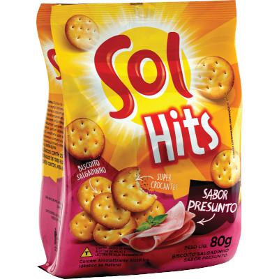 Biscoito Salgado sabor Presunto 80g Sol/Hits pacote PCT